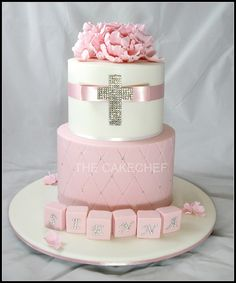 Baptism Cakes For Girls Christening Cake Baby Christening Cakes, Baptism Cakes, Dedication Cake, Theme Bapteme, Religious Cakes, Confirmation Cakes, First Communion Cakes, Decoration Patisserie, Girl Cakes