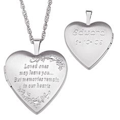 Sterling Silver Engraved Memorial Locket Necklace