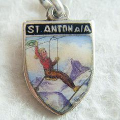 Vintage enameled souvenir skiing charm ~ From A Genuine Find