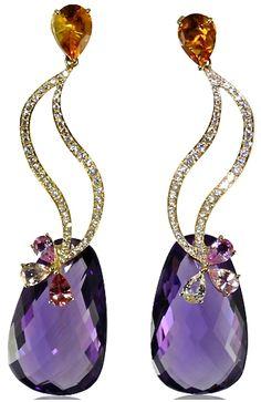 Caroline C, diamonds, amethyst, citrine earrings ♥♥