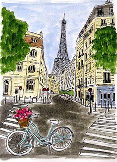 Fifi Flowers: Blue Bicycle in Paris Bicycle Painting, Bicycle Art, Paris Illustration, Paris Art, Oui Oui, Monuments, Travel Posters, Paris France, Illustrations Posters