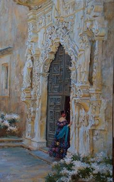 Visit at dusk (Mission San Jose, San Antonio Texas) by Gladys Roldan-de-Moras Oil ~ 28 x 18