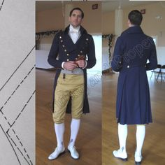 1795-1810 Regency Men's Coat  tutorial pattern and instructions by Fitting and Proper