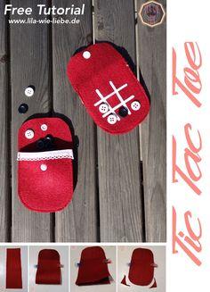 Tic-Tac-Toe bzw. Drei-gewinnt nähen, ein schönes kleines Spiel für unterwegs, das in jede Handtasche passt! kostenlose Anleitung / Genäht in wenigen Minuten