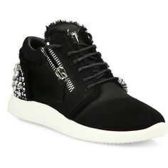 Giuseppe Zanotti Crystal-Embellished Suede & Satin Side-Zip Sneakers ($950) ❤ liked on Polyvore featuring shoes, sneakers, giuseppe zanotti sneakers, suede lace up shoes, round toe shoes, laced shoes and lace up shoes