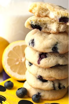 Lemon Blueberry Cheesecake Cookies ~ The perfect summer cookie! #cookies #blueberries #dessert #snacks #recipe