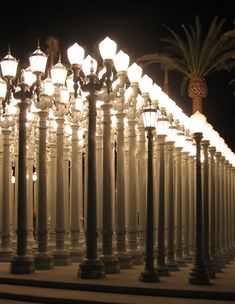 Urban Light, a sculpture by Chris Burden that incorporates more than two hundred restored cast-iron lampposts from Los Angeles County.