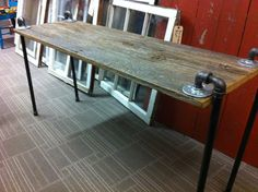 Topper Wood Barn Console Table with black Pipe legs by Reclaimedcl