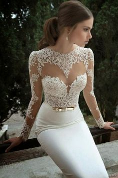 """If the words """"gorgeous long sleeve wedding dress"""" set your heart racing, you're in for a treat. Find your perfect long-sleeve wedding dress! Wedding Dresses Tight Fitted, Sexy Wedding Dresses, Wedding Dress Sleeves, Long Sleeve Wedding, Tight Dresses, Elegant Dresses, Sexy Dresses, Bridal Dresses, Lace Dress"""