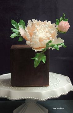 Sugar Peonies and all Ganache cake ~ Yum!