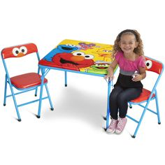 Kids Table And Chairs Set Toddler Children Elmo Play Activity Folding Furniture #SesameStreet  sc 1 st  Pinterest & Sesame Street Playskool Steps To School Toy - Elmou0027s Count Along ...