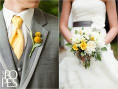 Seattle Wedding Photography by The Popes Yellow Grey Weddings, Grey Suit Wedding, Wedding Tux, Yellow Wedding Flowers, Gray Weddings, Wedding Dresses, Autumn Wedding, Anemone Wedding, Wedding Bouquet