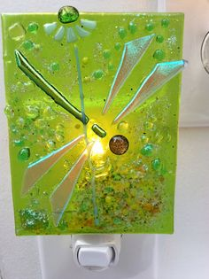 Handcrafted fused glass night light Magic by FusedGlassbyDana