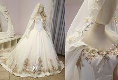 Floral Princess Bridal Gown and Cape by Firefly-Path.deviantart.com on @DeviantArt