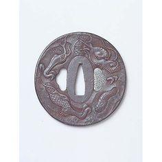 Tsuba (Sword Guard) with Dragon and Cloud in Openwork Inscription of Yoshitame, Edo Period, Kyoto National Museum.