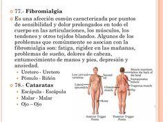  77.- Fibromialgia  Es una afección común caracterizada por puntos de sensibilidad y dolor prolongados en todo el cuerpo...