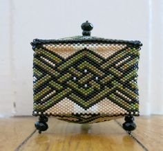 """I made this beaded box for my fiance'.The pattern is from the book """"Little Beaded Boxes"""" by Julia S. Pretl."""