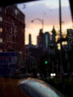 inside rainy taxi