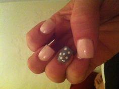 Spring Nails 2013, baby pink, grey and polka dot