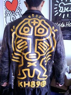 "motomood: ""Motorcycle Jacket Illustrated By Keith Haring "" Jm Basquiat, Boy Outfits, Fashion Outfits, Biker Leather, Leather Jackets, Painting Leather, Textiles, Keith Haring, Vest Jacket"