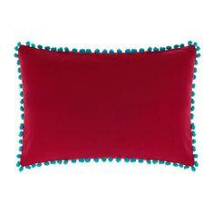 Cuscino rettangolare in puro cotone. Pon pon in contrasto colore applicati. Imbottitura inclusa.