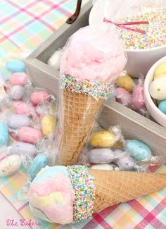 Cotton Candy Ice Cream Cones | Carnival Party Ideas