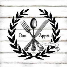 Bon Appetit French Vintage Cutlery Black and White by CreatifBelle Decoupage, Vintage Shabby Chic, French Vintage, Cutlery Storage, French Typography, Boarders And Frames, Vintage Cutlery, Text Pictures, I Love Paris