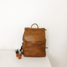 simple leather backpack.