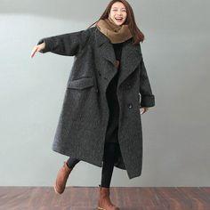 Woolen Literature Long Sleeves Autumn Winter Gray Women Coat