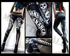 Unique biker chick style Sons of Anarchy studded leggings in black leather look lycra reaper logo, studded Sons of Anarchy text and sexy studded lace up panels. WAAAANT!!!! :)
