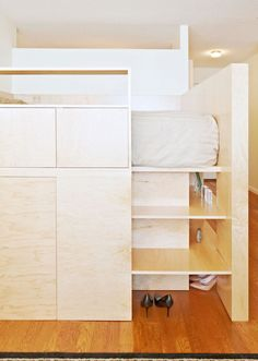 Too often, entering a studio apartment feels like entering someone's bedroom albeit with a few pieces of daytime furniture sitting around. No matter the size of the space, the presence of a bed tends to give the impression the room is for sleeping–an impression that is... #bed #microapartments