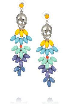 Tom Binns | Rainbow's End painted Swarovski crystal skull drop earrings | NET-A-PORTER.COM