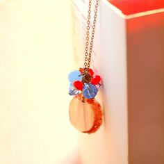 Opal natural long necklace in vintage gold chain with orange czech and light blue crystal