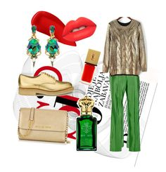 """Green,gold&red"" by mayra-ariesan ❤ liked on Polyvore featuring Lipstick Queen, Cédric Charlier, Rosie Assoulin, YMC, Michael Kors, Clive Christian, Yves Saint Laurent and Lime Crime"