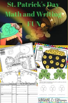 Are you looking for some fun activities to celebrate St. Patrick's Day? These math and writing activities might just be the pot of gold at the end of the rainbow that you are looking for!!! Check these out and see for yourself! #Stpatricksday will be here before you know it! #marchactivitiesforkids #stpatricksdayideaa #mathfactgames Primary Resources, Teacher Resources, Teaching Ideas, March Themes, Reading Themes, Luck Of The Irish, Lollipops, Writing Activities, Math Games