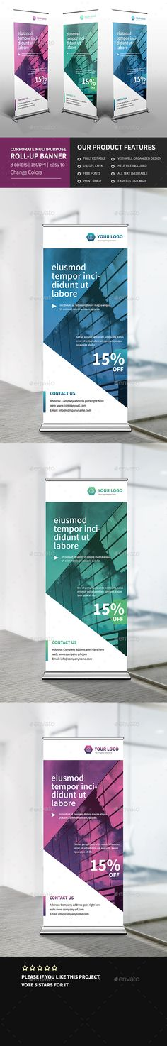 PSD Corporate Multipurpose Roll-up Banner 3  Template • Only available here ➝ http://graphicriver.net/item/corporate-multipurpose-rollup-banner-3/16459624?ref=pxcr