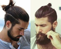 You are here because you are searching for a man bun hairstyle which suits you. Here are two examples of what your hair can look like with a bun. The gentlemen in this picture have full beards in order to create a dramatic look. Man Bun Undercut, Undercut Long Hair, Curly Hair Men, Man Bun Hairstyles, Asian Men Hairstyle, Hairstyle Man, Short Hair Cuts, Short Hair Styles, Hair And Beard Styles