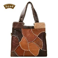 Cobbler Legend women messenger bags 2015 new Top Quality Retro hit color stitching diagonal shoulder bag handmade leather bag Leather Gifts, Leather Bags Handmade, Handmade Bags, Leather Bag Pattern, Sewing Leather, Patchwork Bags, Quilted Bag, Leather Purses, Leather Handbags