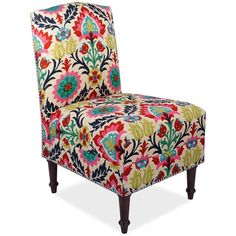 Barstow Santa Maria Fabric Accent Chair ($684) ❤ liked on Polyvore featuring home, furniture, chairs, accent chairs, desert flower, nailhead trim chair, nailhead chair, upholstered chair, colored chairs and upholstered accent chairs
