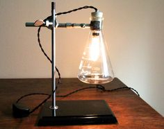 Industrial desk lamp Science steampunk table light cool chemistry gift  laboratory biology Erlenmeyer Flask with vintage-style Edison bulb b56129dc741e