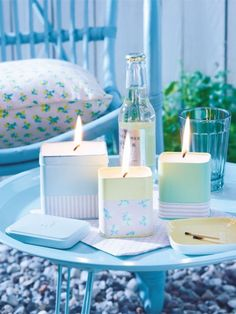 , je ca. Beistelltisch, ca.ber Nostalgie im Kinderzimmer Diy And Crafts, Arts And Crafts, Diy Candles, Cheap Furniture, Fabric Flowers, Lamp Light, Upcycle, Crafty, Table Decorations