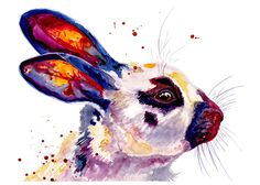 5x7 Bunny Rabbit Watercolor Painting Fine Art Print Watercolor Rabbit Print Bunny Print Rabbit Painting Bunny Painting Rabbit Art