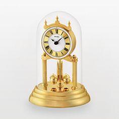 Seiko Gold Tone Anniversary Mantel Clock ($86) ❤ liked on Polyvore featuring home, home decor, clocks, yellow, seiko desk clock, pendulum clock, seiko clocks, battery operated clock and round clock