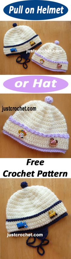 Pull hat or helmet free baby crochet pattern. #crochet