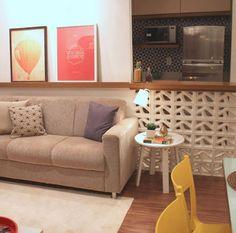 Decoração com tijolo cobogó - Luiza Gomes Home Interior Design, Interior Architecture, Interior Decorating, Living Room Tv, Home And Living, Kitchen Living, Decoration, Sweet Home, House Design