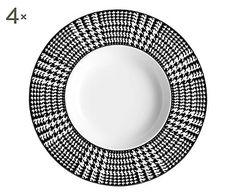 Set di 4 piatti fondi in bone china   Bergdorf bianco/nero, d 24 cm