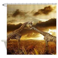Giraffes at Sunset Shower Curtain on CafePress.com