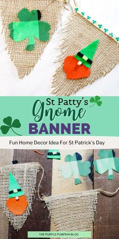 This St. Patty's Gnome Banner is absolutely adorable! If you are a little gnome fan then you know you NEED to make this - I mean what's better than a cute banner full of gnomes to really set the stage for St. Patrick's Day! Christmas Party Decorations, Christmas Fun, Crafts To Make, Fun Crafts, Triangle Template, Felt Squares, Purple Pumpkin, Cute Banners, Rainbow Paper