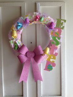 Easter wreath...Everything was $1 each except the foam wreath itself