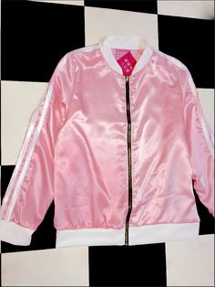 ~Y2K16 SPIZE GURL~ V SILKY V SMOOTH V PRECIOUS SILK BOMBER JACKET FT. CONTRAST HEMS AND DOUBLE STRIPS   Loose fitLightweightPoly blendZipper closureNo stretch
